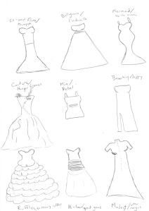I'm a writer, not an artist, ok?  See how  only two dresses have some kind of straps/sleeves? Yeah, that's an overrepresentation. Strapless EVERYTHING, OMG.