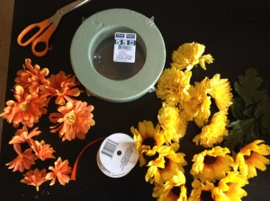 DIY floral circle- gather supplies