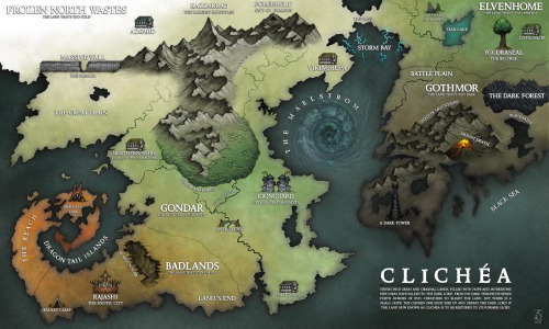 "This awesome fictional map of ""Clichea,"" created by Sarithus. Might want to avoid this sort of thing."